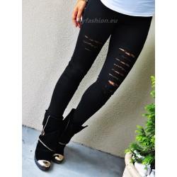 Czarne legginsy  z wycięciami na kolanach i koronką