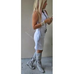Biała  dopasowana sukienka z frędzlami