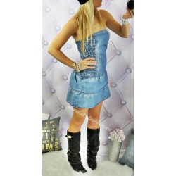 rozkloszowana sukienka dżinsowa, denim blue