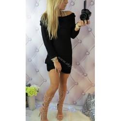 Czarny  sweter/sukienka  z dodatkiem wełny Italy