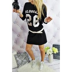 Sukienka dresowa, czarna, oversize bloger's
