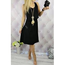 Prosta, gładka sukienka midi czarna