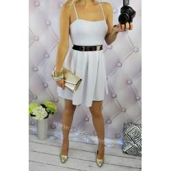 klasyczna biała sukienka rozkloszowana