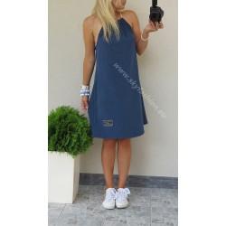 Dresowa sukienka trapezowa niebieska