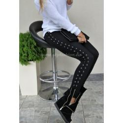 Czarne legginsy wiazane po bokach