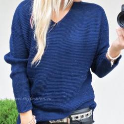 Asymetryczny  sweter  z dodatkiem brokatowej nici
