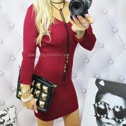 Bordowa  sukienka sweterkowa  z brokatem