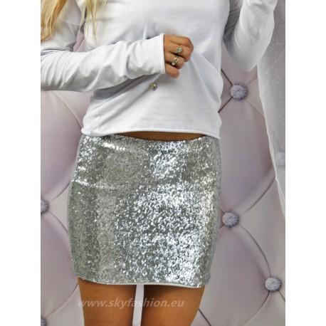 Dopasowana spódnica mini srebrna z cekinami