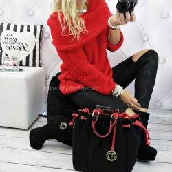 Najmodniejszy  czerwony sweter typu hiszpanka