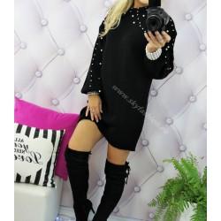 Najmodniejszy czarny sweter sukienka z perłami
