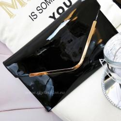 luksusowa torebka kopertówka, czarna, lakierowana