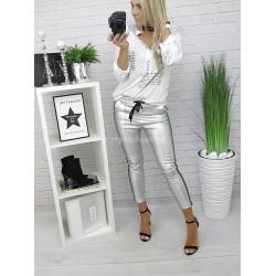 Czarne spodnie latex z  lampasami Silver