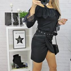 Czarna   spódnica z drapowaniem