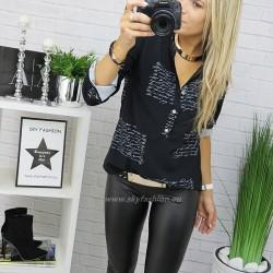 Czarna   bluzka   koszulowa z napisami