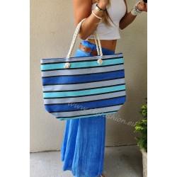 Duża, luksusowa torba plażowa w paski