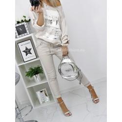 Beżowe spodnie dresowe baggy z perłami