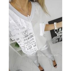 Biała  bluzka  oversize napisy  silver