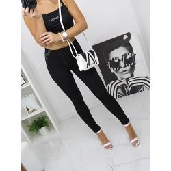 Sznurowane  spodnie Brodway czarne, wysoki stan