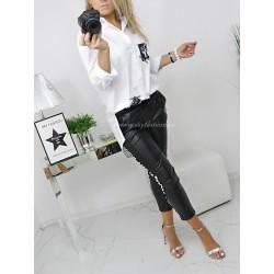 Biała długa klasyczna koszula