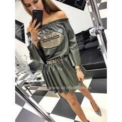 Paparazzi Fashion sukienka ekoskóra khaki