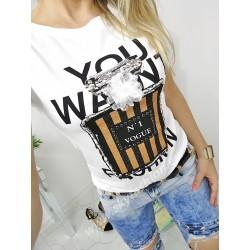 T-shirt , bluzka biała  z ozdobą