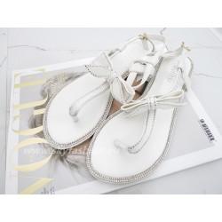 Sandały Japonki Białe Circkon Bow