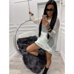 Sweter Sukienka Ażur White
