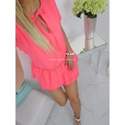 Różowa  sukienka Italy z falbaną
