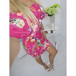 Sukienka Pink hiszpanka z odkrytymi ramionami