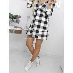 Długa koszula/tunika w czarno-białą kratę