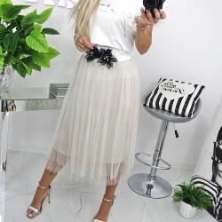 Zwiewna plisowana spódnica midi tiul