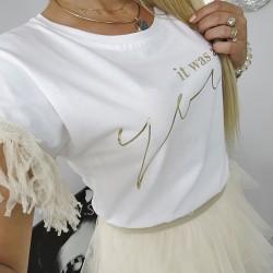T-shirt , bluzka biała ozdobny rękaw