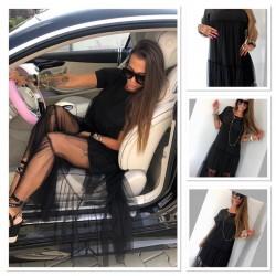 Czarna  sukienka z tiulem Lola Bianka