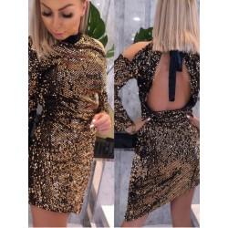 Złota   sukienka z wycięciem na ramieniu