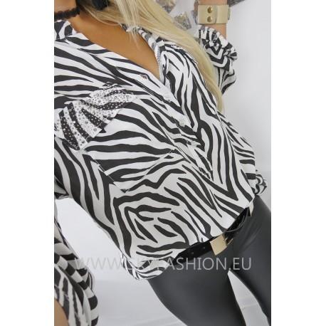 Luźna   koszula zebra print