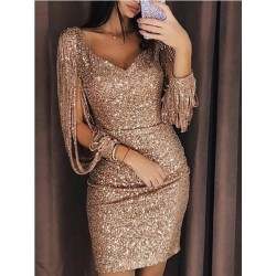 Sukienka z cekinami różowe złoto