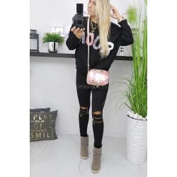 Luźny sweter czarny z  futrzaną ozdobą   z przodu