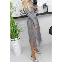 Włoska sukienka midi z tiulem