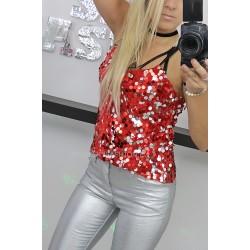 Bluzka top błyszczący na ramiączkach z cekinami RED