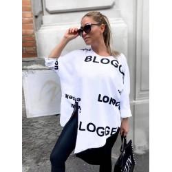 Bawełniana tunika z napisami Blogger