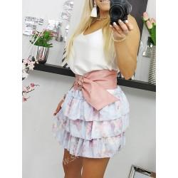 SkyFashion beżowa spódnica z tiulu midi