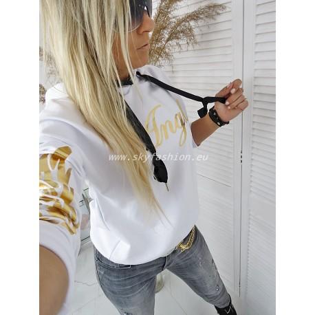 Bluza ANGEL WHITE złote  skrzydła, kaptur
