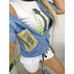 Komplet Koszula denim plus T-shirt