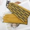PREMIUM Eleganckie zamszowe żółte rękawiczki damskie dotykowe