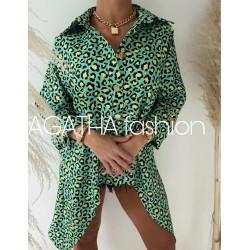 Koszula Agatha Fashion  oversize pantera green rogi