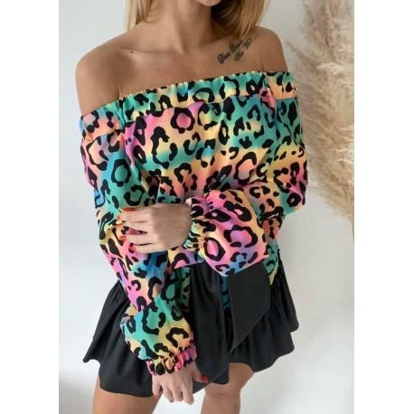 Zajwiskowa sukienka pantera rainbow by Agatha Fashion