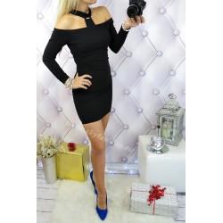 Czarna, ołówkowa sukienka z chokerem
