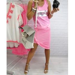 Neonowa  spódnica asymetryczna z drapowaniem