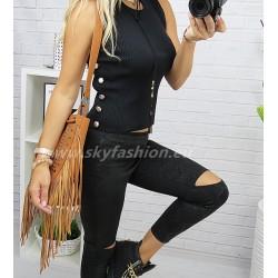 Luksusowy czarny  sweter w formie topu