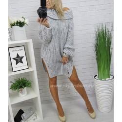 Obszerny  sweter/sukienka  oversize z wycięciami po bokach